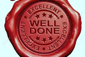 33904043 Well Done Excellent Job Or Great Work Congratulations Red Wax Seal Stamp Stock Photo