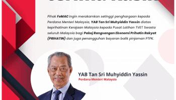 Setinggi Penghargaan Kepada Perdana Menteri Malaysia, YAB Tan Sri Muhyiddin Yassin
